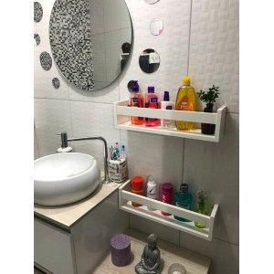 Prateleira Nicho Para Banheiro Cosméticos Branco Kit 2 Pç
