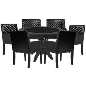 Mesa de Jogos Carteado Montreal Redonda Tampo Reversível Preto com 6 Cadeiras Liverpool Corino