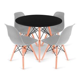 Conjunto Mesa Preta Eames 90cm e 4 Cadeiras Eames Cinza