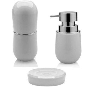 Porta Escova Sabonete Líquido e Saboneteira Banheiro New Belly - Branco