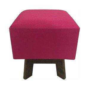 Banquinho Estofado Puff De madeira Tecido Rosa Pink