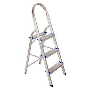Escada Alumínio Forte Doméstica Real Com 3 Degraus Até 120kg