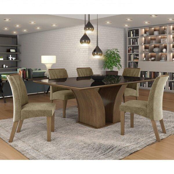 Conjunto Sala de Jantar Mesa Tampo MDF Vidro 6 Cadeiras Leblon Tik Plus Espresso Móveis
