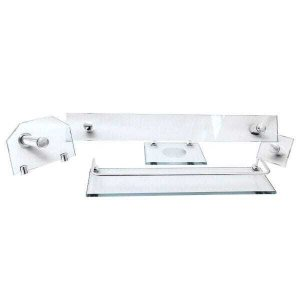 Kit Acessórios de Banheiro Em Vidro 8mm Retangular Incolor