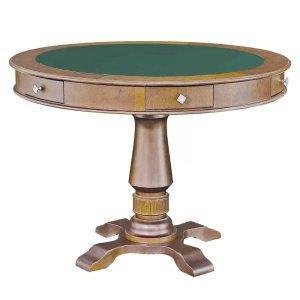 Mesa de Jogos Carteado 4 Lugares Victoria Redonda Tampo Reversível com Gavetas e Porta Copos Amê