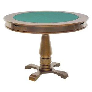 Mesa de Jogos Carteado Victoria 4 Lugares Redonda Tampo Reversível com Gavetas e Porta Copos Amê