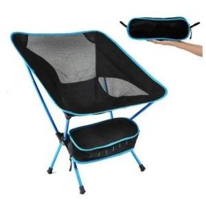 Cadeira Dobrável Camping Pelegrin PEL-0577 Preto e Azul Portátil