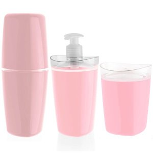 Acessórios Para Banheiro 3 Peças Saboneteira Líquida Porta Escovas Algodão Rosa Quartzo