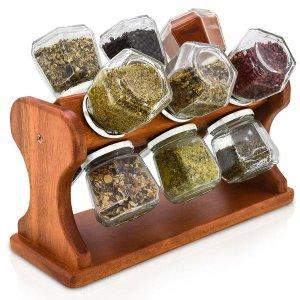 Porta Temperos e Condimentos de Mesa Em Madeira Rústico Giratório Com 12 Frascos de Vidro 120ml Cada