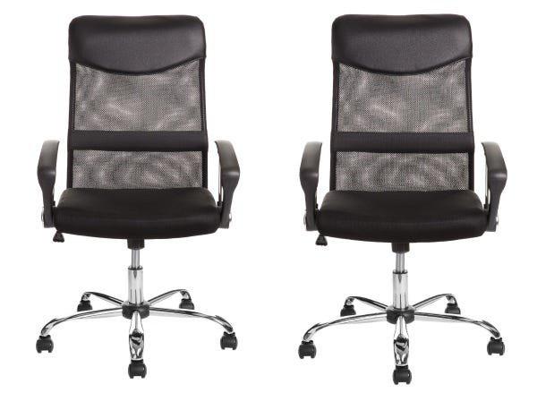 Conjunto 2 Cadeiras para Escritório Presidente com Apoio Lombar e Encosto em Tela Preta