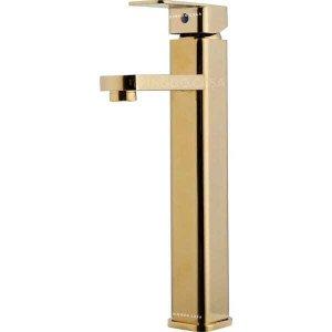 Torneira para banheiro Monocomando Misturador Alta dourada Madeira Pingoo.casa