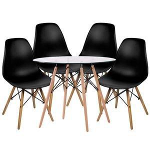 Conjunto Mesa Eames DSW Branca com a Base de Madeira 90 cm + 4 Cadeiras Eames DSW Preta