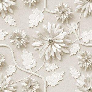 Papel de Parede Autocolante Floral Flores Brancas 3D