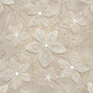 Papel De Parede Floral Adesivo Flores Bege Lavável - N4902