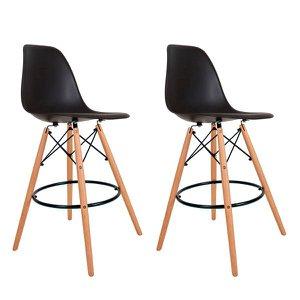 Kit com 2 Banquetas Altas Charles Eames Wood Dkw Eiffel - Design Pretas