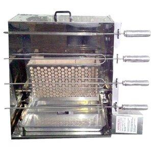 Churrasqueira Rotativa Vertical 4 Espetos de Inox à Carvão