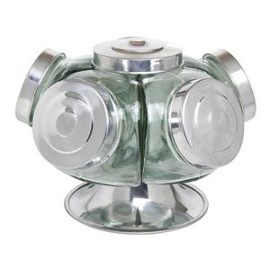 Baleiro Giratório Vidro 28 Cm 5 Potes Transparente Expositor Bomboniere Balas Doces Cap. 2.5 Litros