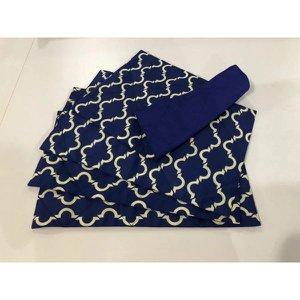 Jogo Americano Dupla Face Geométrico Azul Marinho- 4 peças