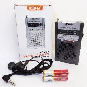 Mini Rádio de Bolso AM/FM LE-650- Lelong + 2 Pilhas