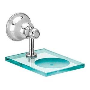 Saboneteira Vidro Metal Para Banheiro Parede Premium