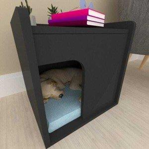 Casinha caminha Mesa de Cabeceira para cachorro cão mdf preto