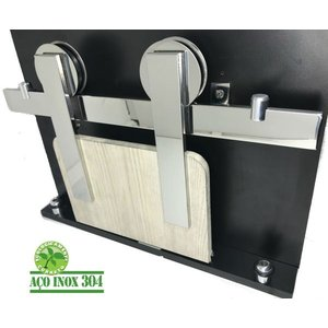 Kit Porta De Correr Roldana Aparente trilho Inox Polido:2,5 mt