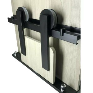 Kit Porta De Correr Roldana Aparente trilho Alumínio Preto:2,5 mt