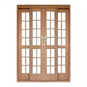 Porta de Correr Quadriculado 4 Folhas Cedro Arana 215cmx160cmx14cm Isabela Revestimentos
