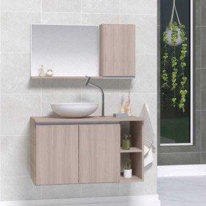 Conjunto de Gabinete Banheiro Virtus 80cm com Cuba e Espelheira -