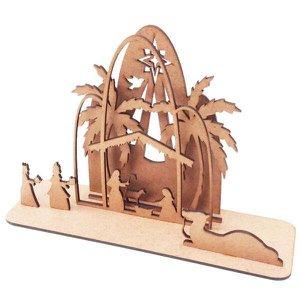 Kit 6 Mini presépio 3D mdf decoração natal 26 x 17 cm
