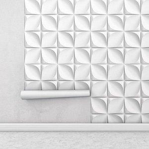 Papel de Parede 3D Flores em tons brancos e cinza Para Sala e Quarto
