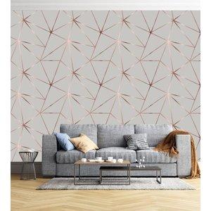 Papel de parede geométrico Rose Silver + Kit Aplicação completo