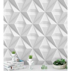 Papel de Parede 3D Triangulos em tons de branco e cinza e Kit Aplicação completo