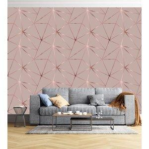 Papel de parede Geométrico Rose Gloss + Kit Aplicação completo