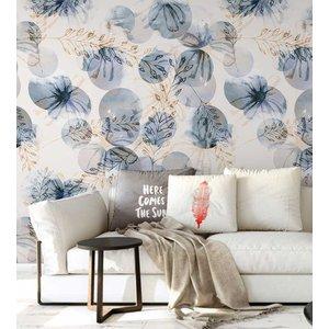 Papel de parede contemporâneo com desenhos em flores e trigos + Kit Aplicação completo