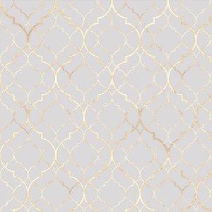 Papel de parede clássico Marrocos em tons de Cinza e Gold Para Quartos e Sala