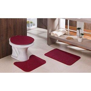 Tapete De Banheiro 3 Peças Vermelho Antiderrapante Relevo Oásis