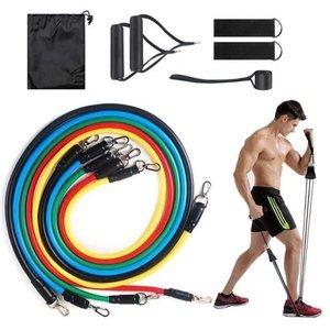 Kit Extensor Elástico 11 Peças Exercício Fitness Pilates