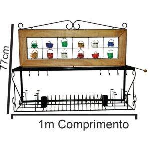 Paneleiro ferro madeira escorredor de pratos e copos
