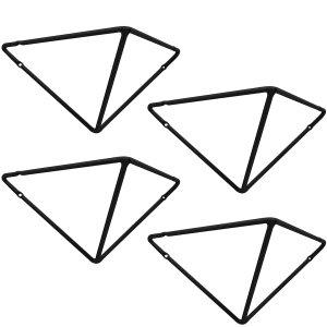 Kit 4 Mãos Francesas Grandes Triangulares Suportes Prateleiras Aramado Estilo Industrial Preto Fosco