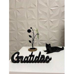 Palavra Gratidão impressão 3D Preto
