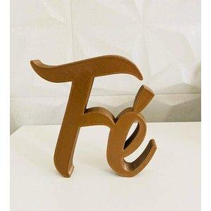 Palavra Fé impressão 3D Marron