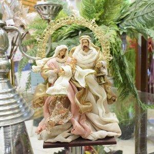 Sagrada Família Rose e Dourada 26cm   Linha Sacra Natal Formosinha