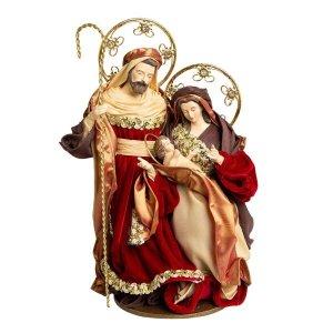 Sagrada Família Vermelha e Dourada 37cm   Linha Sacra Natal Formosinha