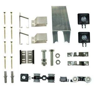 Kit Porta de Correr 4 Roldanas 5 Suportes - Trilho 3,00 M - Porta até 150cm - Alumínio Natural