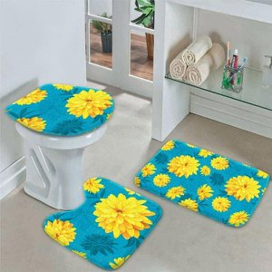 Jogo Tapetes para Banheiro Flor Amarela com Azul Único