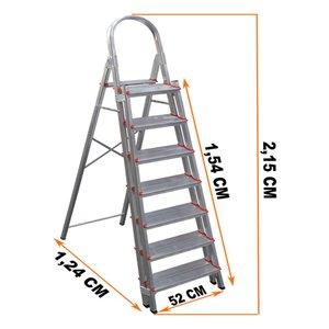 Escada Alumínio 7 Duplos Degraus Reforçada E Segura ART FACTORY