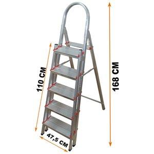 Escada Alumínio 5 Duplos Degraus Reforçada E Segura ART FACTORY