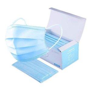 Mascara Descartavel Tripla Proteção Azul 50 Unid - Envio Imediato