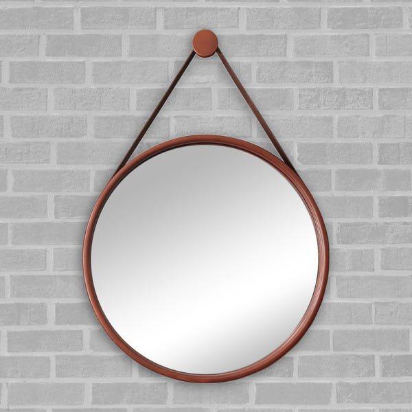 Espelho Redondo Adnet 60cm COBRE Com Suporte E Alça Em Couro Ecológico Escandinavo Decorativo